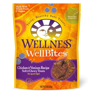 Wellness WellBites Chicken & Venison Dog Treats 8 oz wellness, wellbites, chicken & venison, chicken and venison, dog treats