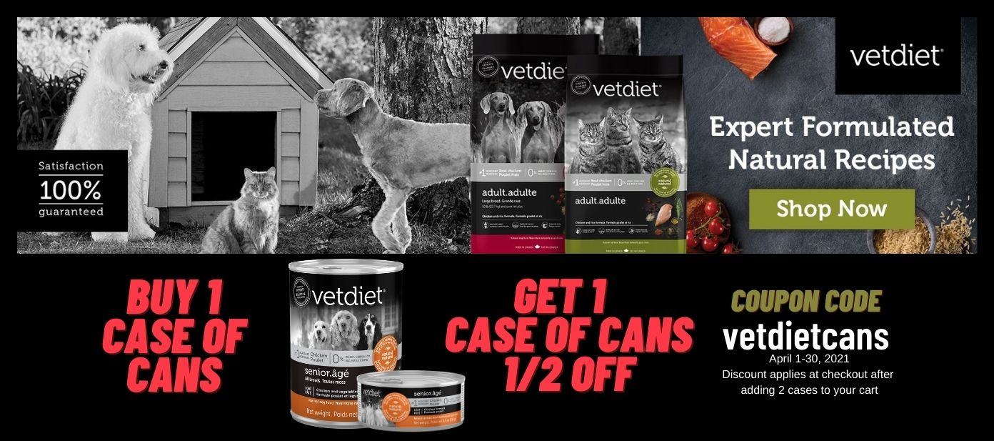 100% Guaranteed VetDiet Dog Food Cat Food Delivery Buy 1 Case of Cans Get ! case of cans half off