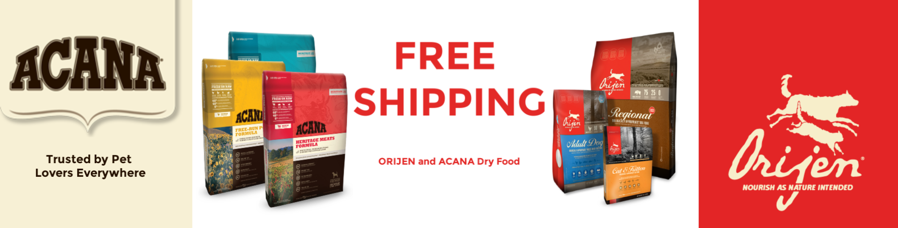 FREE Shipping on ORIJEN and ACANA dry dog and cat foods from Dog Food Direct