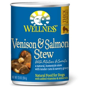Wellness Venison & Salmon Stew Canned Dog Food 12/12.5 oz Case wellness, venison & salmon, stew, venison and salmon, canned, dog food, dog